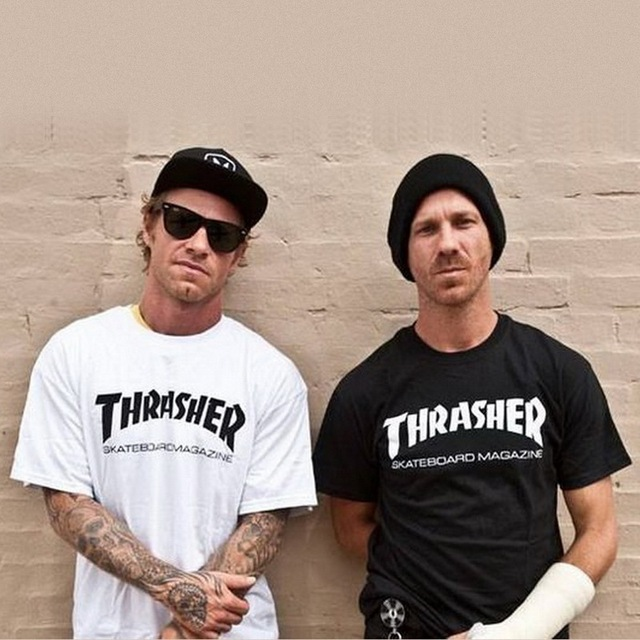 2016 New thrasher T Shirt Men Women Skateboards tee Short Sleeve Skate T shirts Tops Hip Hop T shirt Homme Man Trasher T shirts