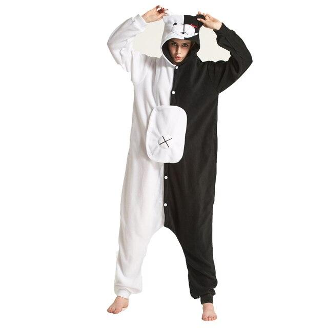 Взрослых Onesie Мультфильм monokuma коричневый Тедди pedo Кумамон Rilakkuma  Черный Медведь животных kigurums пижамы Косплэй костюм 4c64360206b78