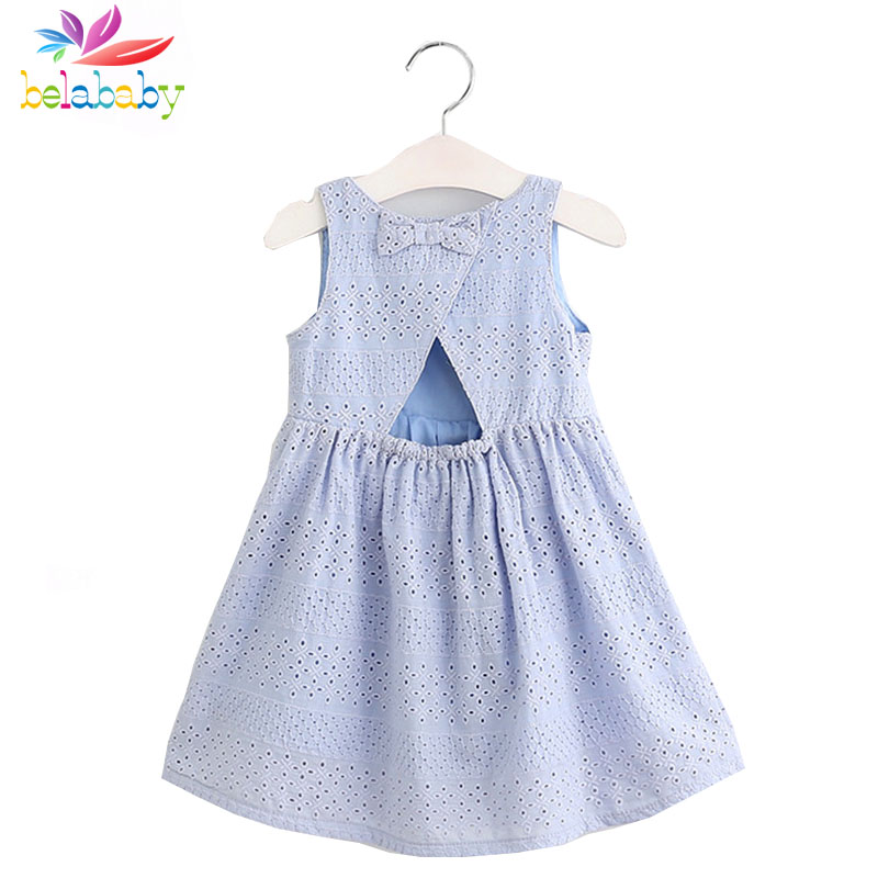 Belababy Baby Girls Dress Brand Summer Beach Style Bow Party Backless Dresses For Girls Vintage Toddler Embroidery Girl Clothing