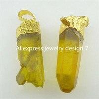 Free Shipping 18063 2PCS Yellow Irregular Healing Crystal Hexagonal Point Quartz Stone Pendant Bead