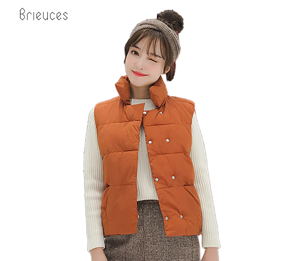 Brieuces Sleeveless autumn Women vest Winter THICK Down cotton Vest Female Double Button Vest Women 39 s Windproof Warm waistcoat in Vests amp Waistcoats from Women 39 s Clothing