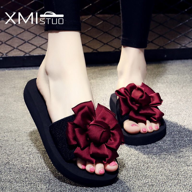 XMISTUO Summer Women Slippers with Flower Slides Outside Beach Sandals Ladies 3CM Low Heels Slippers 4