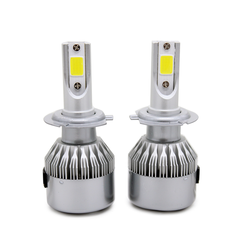 2 Unids / par Hight Bright Car LED Faro H7 COB Chip 8-48v DC 72W - Luces del coche