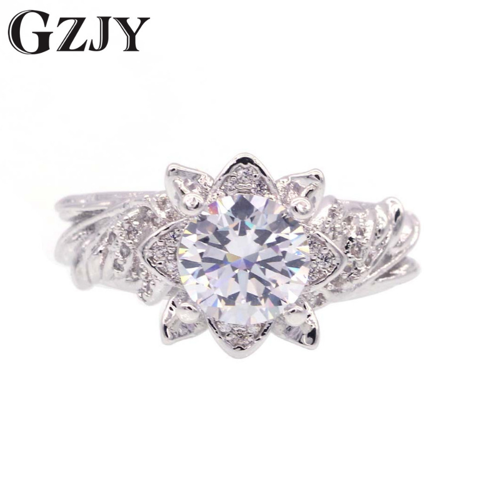 GZJY Fashion Four Leaf Clover Sparkling Zircon White Gold Color Promise Ring For Women Mothers Day Gift