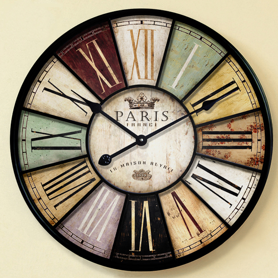 buy 60cm 34cm large wood wall clock vintage retro style with roman number. Black Bedroom Furniture Sets. Home Design Ideas