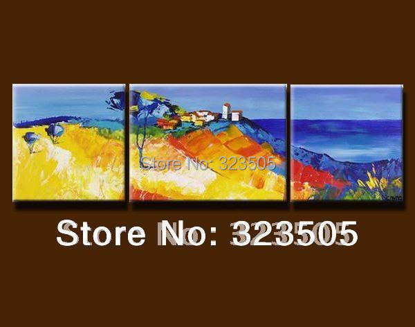 Modern  home decoration Seascape  handmade oil painting sets free shipping to USA