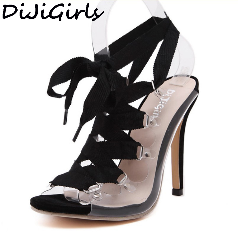 Women PVC Clear Transparent Sandals Gladiator Roman Lace Up Peep Toe Women Pumps High Heel Stiletto Shoes Woman Summer Sandals bosch 1605510281