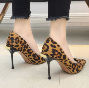 <font><b>High</b></font> <font><b>Heels</b></font> Leopard Shoes Women Pumps Office Lady Pointed Toe Flock Sexy <font><b>12</b></font> <font><b>cm</b></font> Wedding Sapato Feminino 014C1722 -49 image