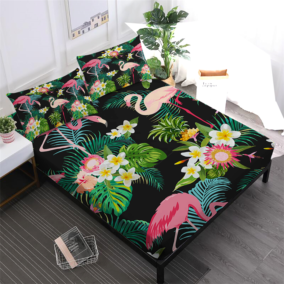 Tropical Green Leaves Sheets Set Flowers Flamingo Print Fitted Sheet King Queen Bed Linens Bedsheet Pillowcase Home DecorTropical Green Leaves Sheets Set Flowers Flamingo Print Fitted Sheet King Queen Bed Linens Bedsheet Pillowcase Home Decor