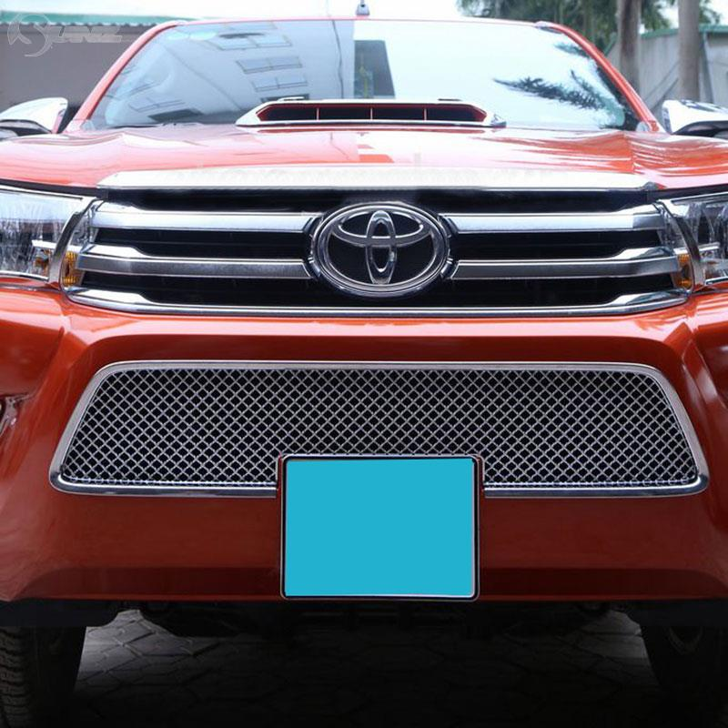 2016-2017 For Toyota Hilux 2016 Revo Chrome Racing Grills Cover Down Grills Chrome Accessories For Hilux Parts Ycsunz 2015 2017 car wind deflector awnings shelters for hilux vigo revo black window deflector guard rain shield fit for hilux revo