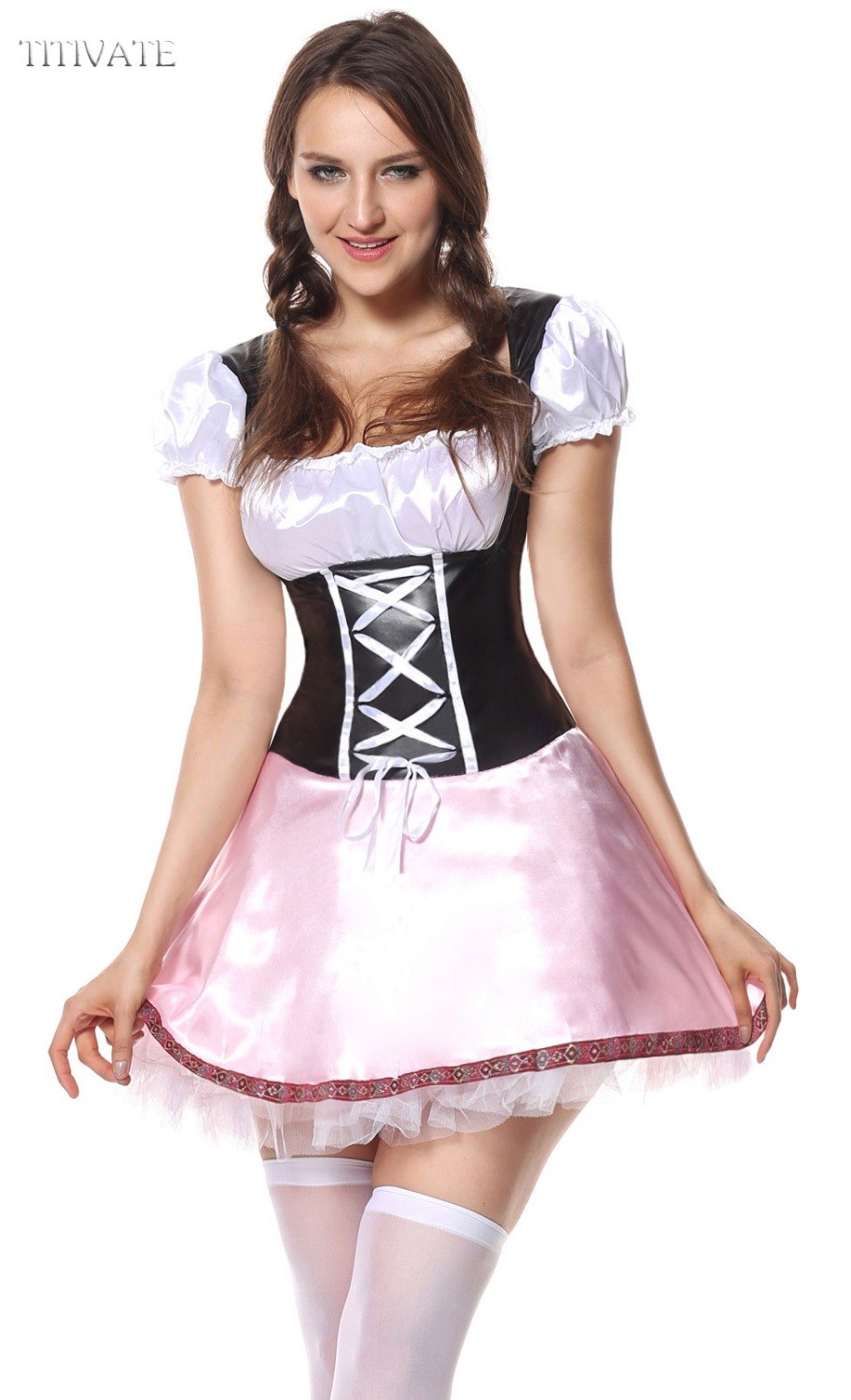 TITIVATE Beer Girl Oktoberfest Halloween Costume Maid German Bavaria Carnival Cosplay Fancy Dress Pink Black For Aadult Women