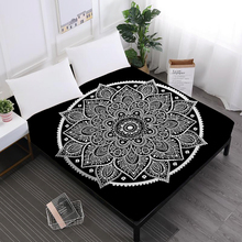 Bohemia Mandala Sheet King Queen Fitted Tie Dyeing Elephant Printed Sheets Deep Pocket Home Decor D49