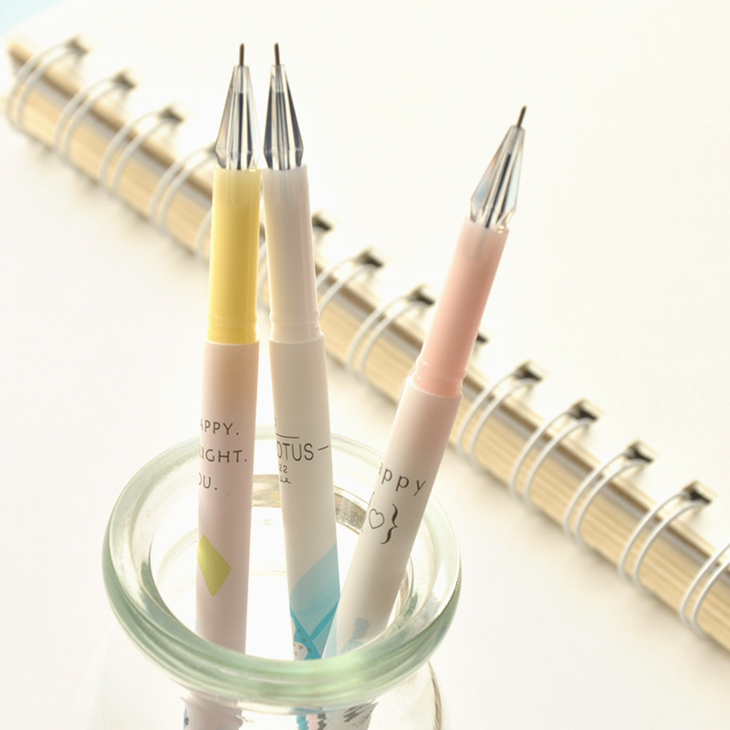 Q47 3X Pastel Watercolored Crystal Head Gel Pen School Office Supply Student Stationery Writing Signing Tool Black Ink 0.35mm