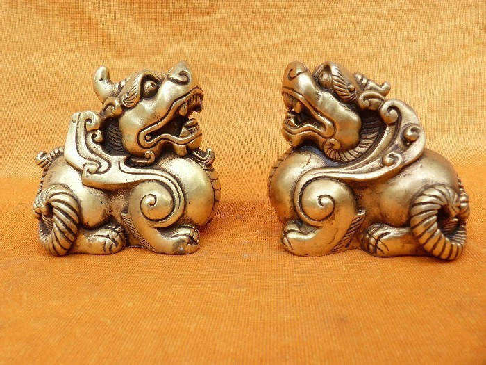 1pcs single angle process the mythical wild animal copper decoration lucky feng shui furnishing articles angle feng shui