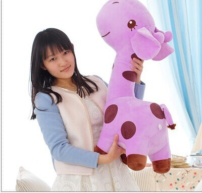 about 85cm giraffe plush toy cartoon spotted giraffe doll, purple throw pillow ,Christmas gift b4689 free shipping about 60cm cartoon totoro plush toy dark grey totoro doll throw pillow christmas gift w4704