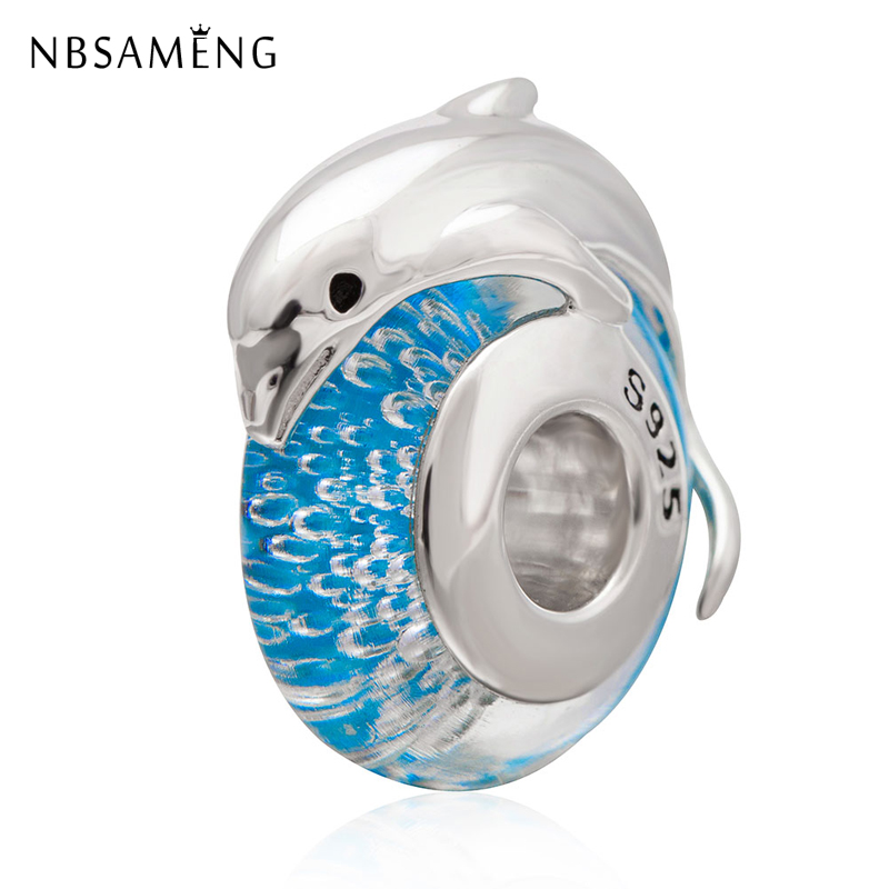 100% 925 Sterling Silver Bead Jumping Dolphin on Blue Sea Murano Glass Beads Charms Fit Original Pandora Bracelets DIY Jewelry цена 2017