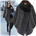 Nueva moda Más Tamaño Abrigo de Mujer Solid Negro Gris Abrigo de Lana Largo prendas de Vestir Exteriores de la chaqueta Abrigo de Invierno Abrigo de Otoño de las mujeres