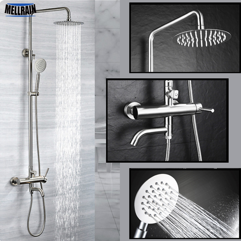 304 Stainless Steel Bathroom Rain Shower Set Out Wall Mounted 8 inch Bath Shower Faucet Quality Brushed Simple Design