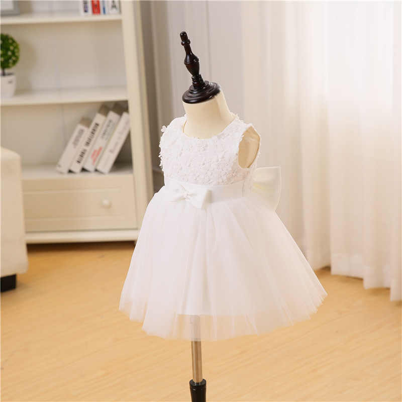 d7a0a8a0570 ... Flower Dress For Girl White Baptism Dresses Baby Girl 1 Year Birthday Wear  Toddler Infant Lace ...
