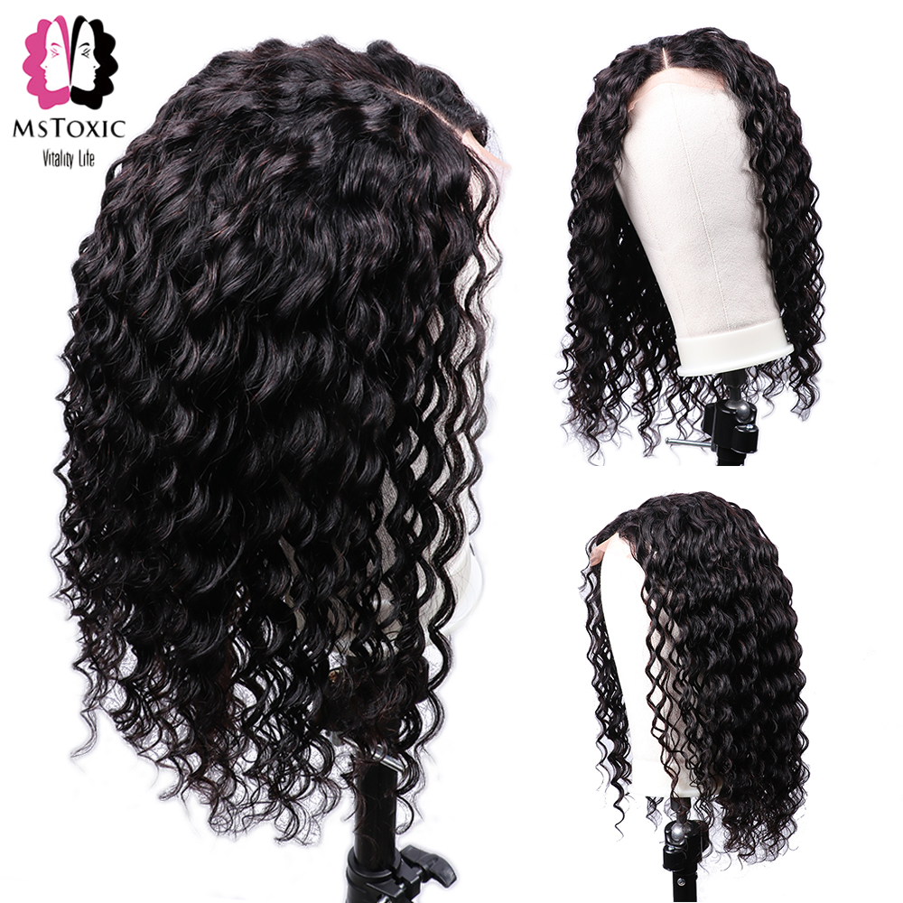 Mstoxic Lace Front Human Hair Wigs Malaysian Curly Lace Front Wigs 4x4 Pre Plucked Natural Hairline Remy Hair Wig For Women Hair Extensions & Wigs