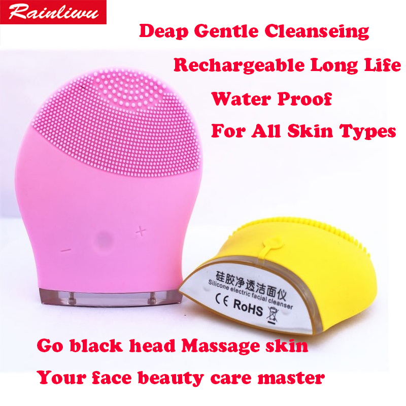 Face massager Silicone Electric Facial Cleanser Face cleaning device washing instrument Go black head Battery Charging vibrator electric waterproof silicone facial cleanser deep cleansing blackhead wash instrument household face massager face cleaning