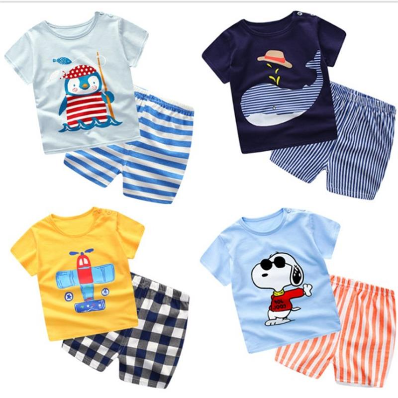 100% Baumwolle Kinder Setzt Säugling Kinder Jungen Kleidung Kinder Kleidung Sets Sommer Baby Mädchen Kleidung Nette Whale T- Hemd + Shorts