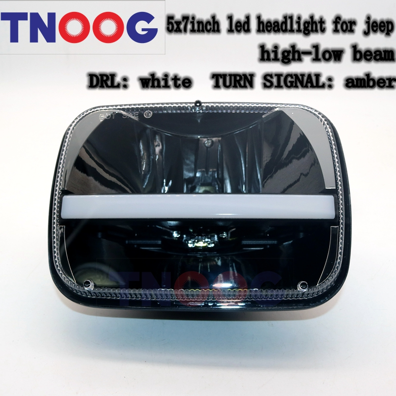 TNOOG A pair 72w 7inch square high/low beam led headlight With White DRL Amber Turn Signal For jeep Cherokee XJ