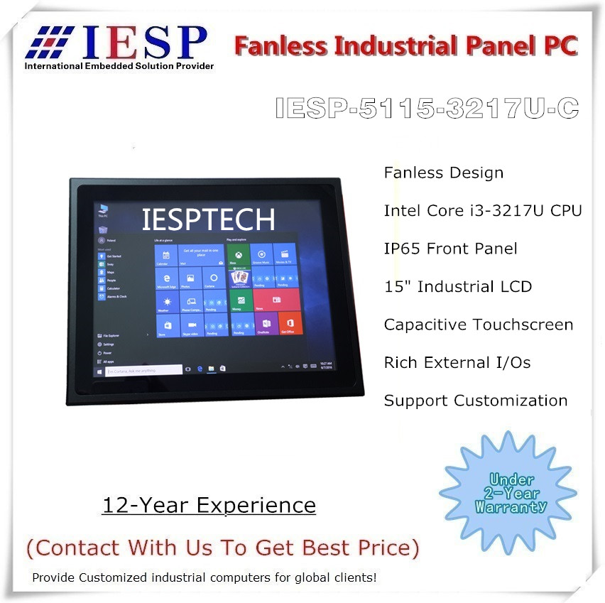 15 inch Industrial Panel PC, Capacitive Touchscreen, i3-3217U CPU, 4GB DDR3, 500GB HDD, 15 inch fanless panel pc