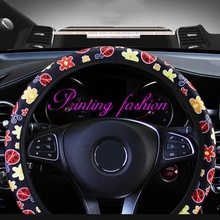 цена 1PC Car Steering Wheel Cover Protection Elegant Cartoon Flower Embroidery Car Steering Wheel Cover 38cm 15