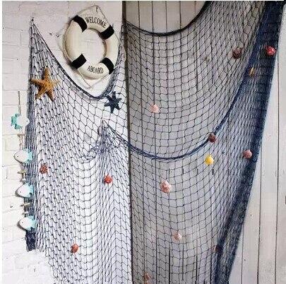 1 2m 2 4m blue white fishing net bar 3d wall decoration for Fish netting decor