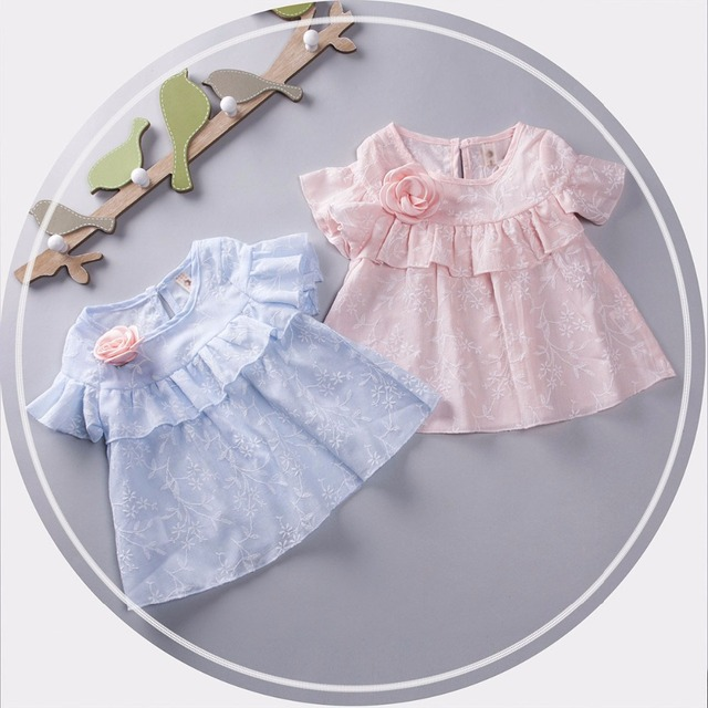 2016 summer Girls dress cotton baby flounced dress newborn clothes short sleeve baby princess dress lovely infants party dresses