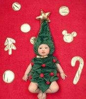 Jane Z Ann Bebek bebek yürüyor Noel ağacı kostüm fotoğraf sahne yeşil şapka + sarı papyon bodysuit roupa fotografie yeni varış