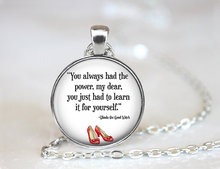 You  Had the Power Necklace, Wizard of Oz Jewelry, Wizard of Oz Necklace, Fashion Silver Plated Choker Necklace HZ1