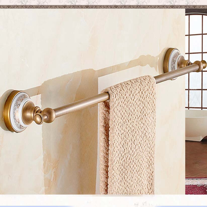 Antique Brass Bathroom Towel Rack Holder Ceramic Base Towel Bar Hanger auzzo 581982 dual bar bathroom towel holder rack antique brass