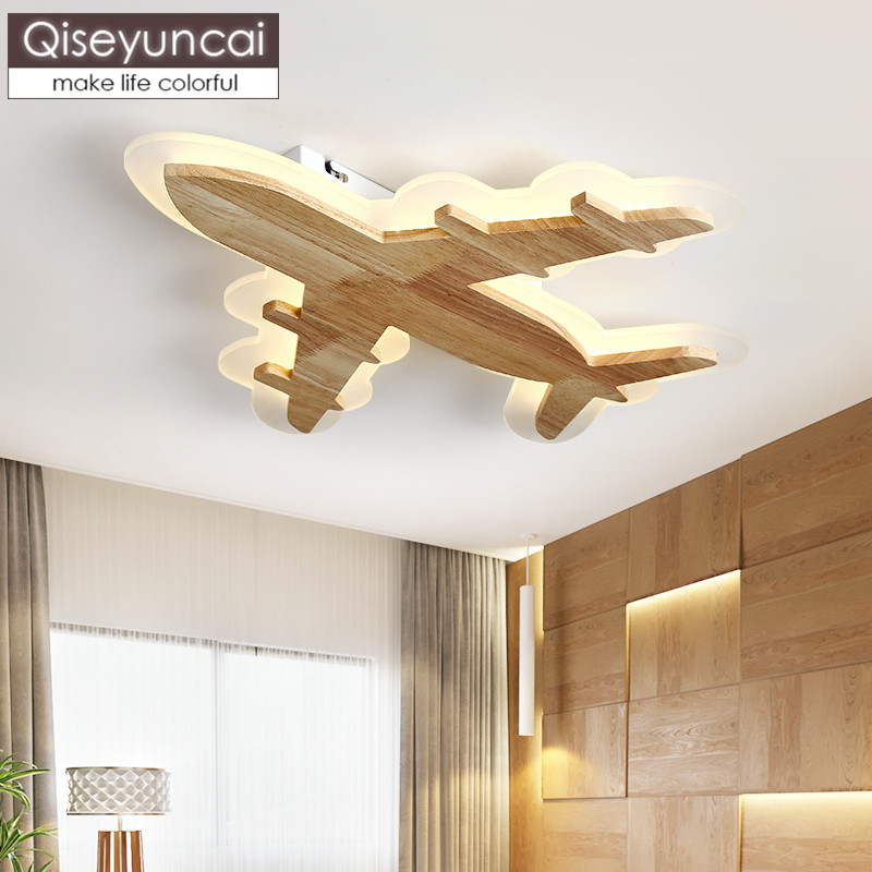 Ceiling Lights Ceiling Lights & Fans Qiseyuncai Nordic Modern Minimalist Childrens Room Ceiling Lamp Male Girl Room Original Wood Art Aircraft Lights Freeshipping Quality And Quantity Assured