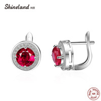 Shineland Trendy 100 Real 925 Sterling Silver Earrings For Women Jewelry Cubic Zirconia Luxury Round Stud