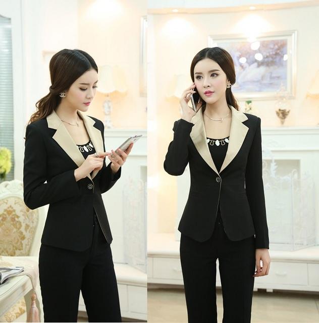 Estilo uniforme nuevo 2015 otoño invierno profesional ropa de trabajo de negocios trajes de oficina Tops y pantalones de traje pantalón formales trajes de pantalones conjunto