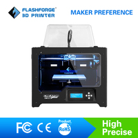 FlashForge 3d Imprimante Creator Pro Open Source 6.3mm d'aluminium chauffée construire plaque Double Extrudeuse W/2 Bobines Usine sortie
