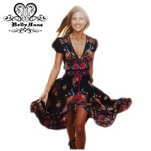 BellyAnna 2016 Sexy Women Summer Maxi Bohemian Boho Ethnic V Neck Floral Print Vestidos De Fiesta Female Beach Robe Long Dress
