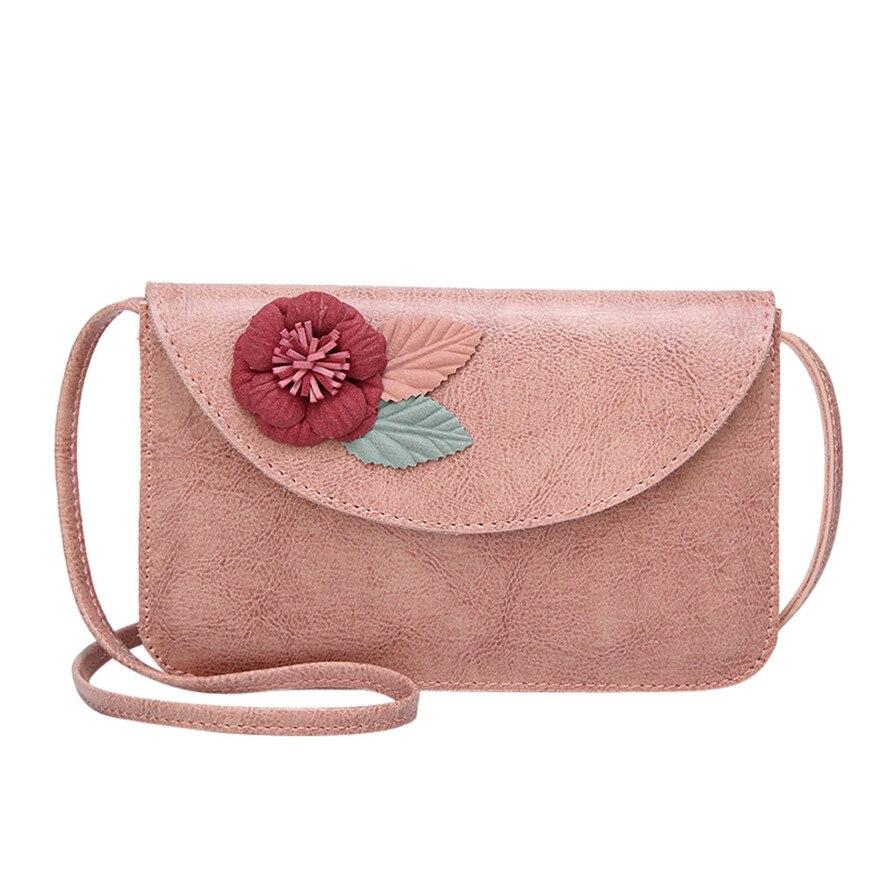 Fashion Women Flower Leather Crossbody Bag luxury Messenger Bag Hasp Phone Bag Elegant Ladies Shoulder Bag bolsa feminina S