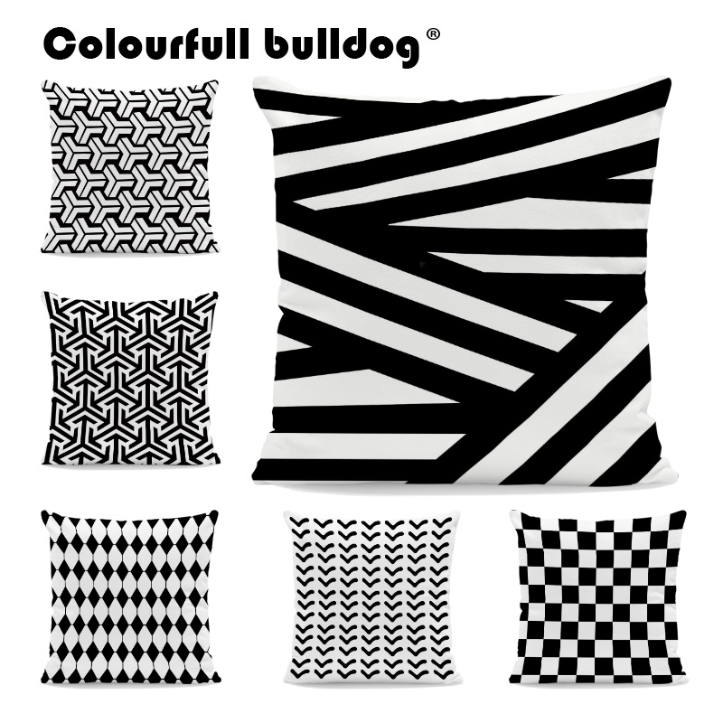 Wholesale Black and White Geometric Striped Rhombus Pillow Cases GO Arrow Plaid Checkered Polka Dot Cushion Covers Home Decorate