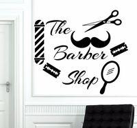 Wall Decal Scissors Mustache Haircut Decal Salon Barber Shop Vinyl Decor