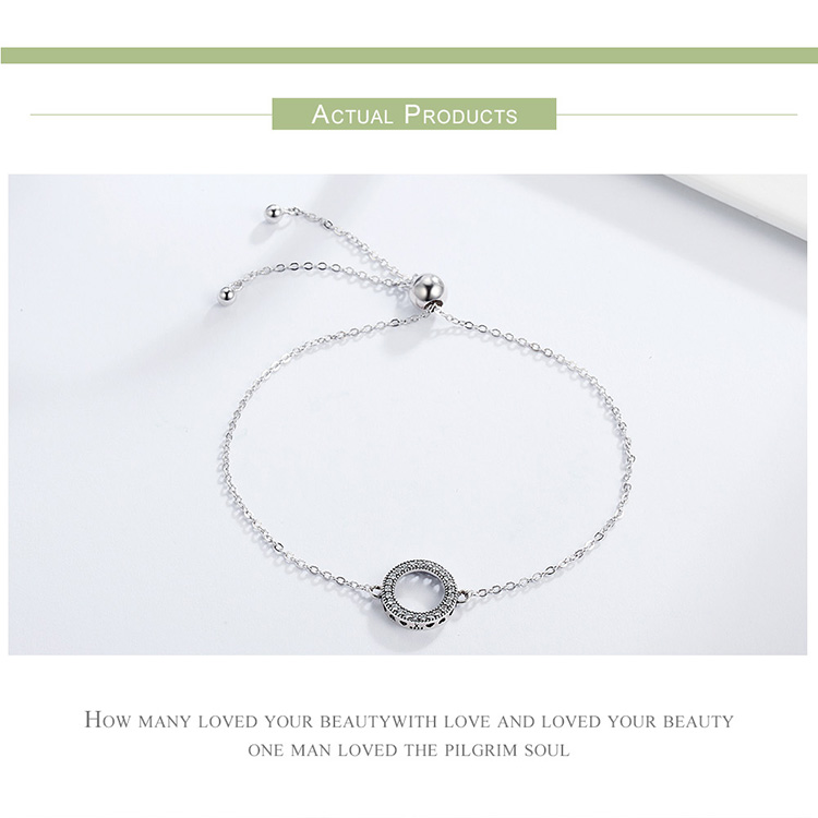 BAMOER Trendy 925 Sterling Silver Glittering Round Circle Chain Link Strand Bracelets for Women Sterling Silver Jewelry SCB030
