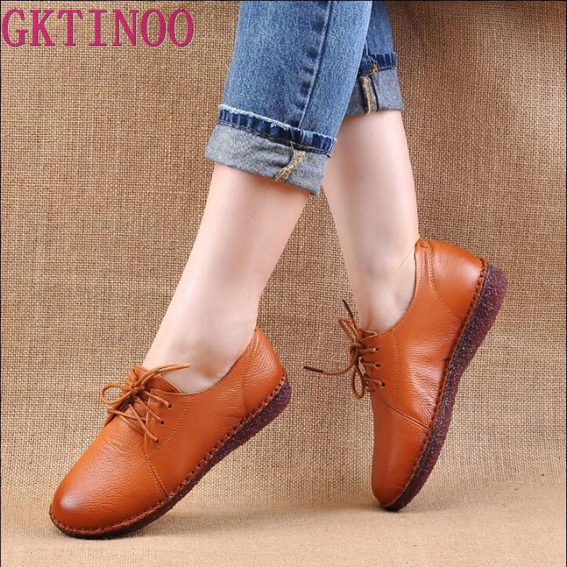GKTINOO Genuine Leather Flat Shoe Hand Sewing Mother Pregnant Shoe Female Moccasins Women Flats Driving Shoes