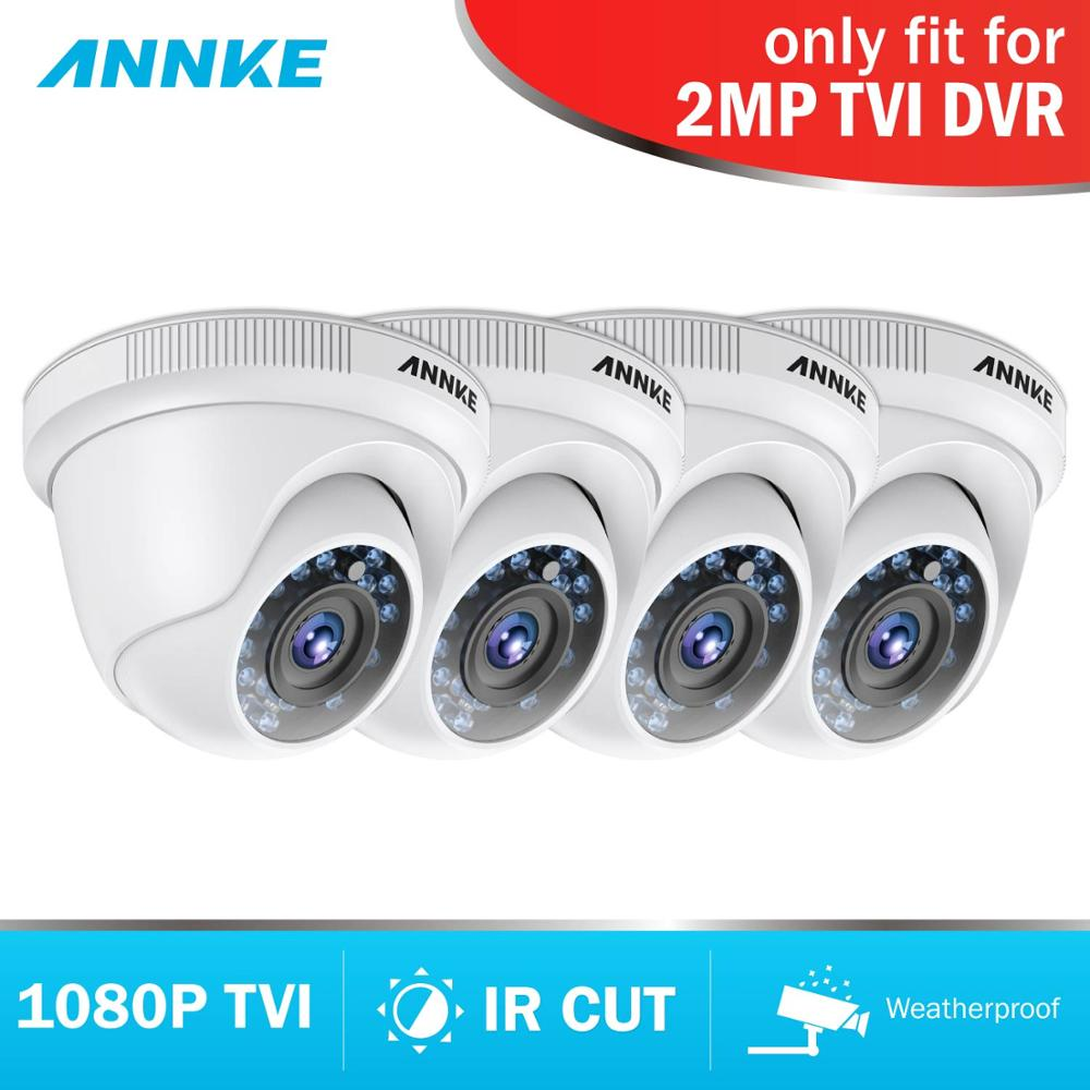 ANNKE 1080P HD TVI Security Camera 4pcs 2MP Dome Kit Outdoor Weatherproof Housing And 66ft Super