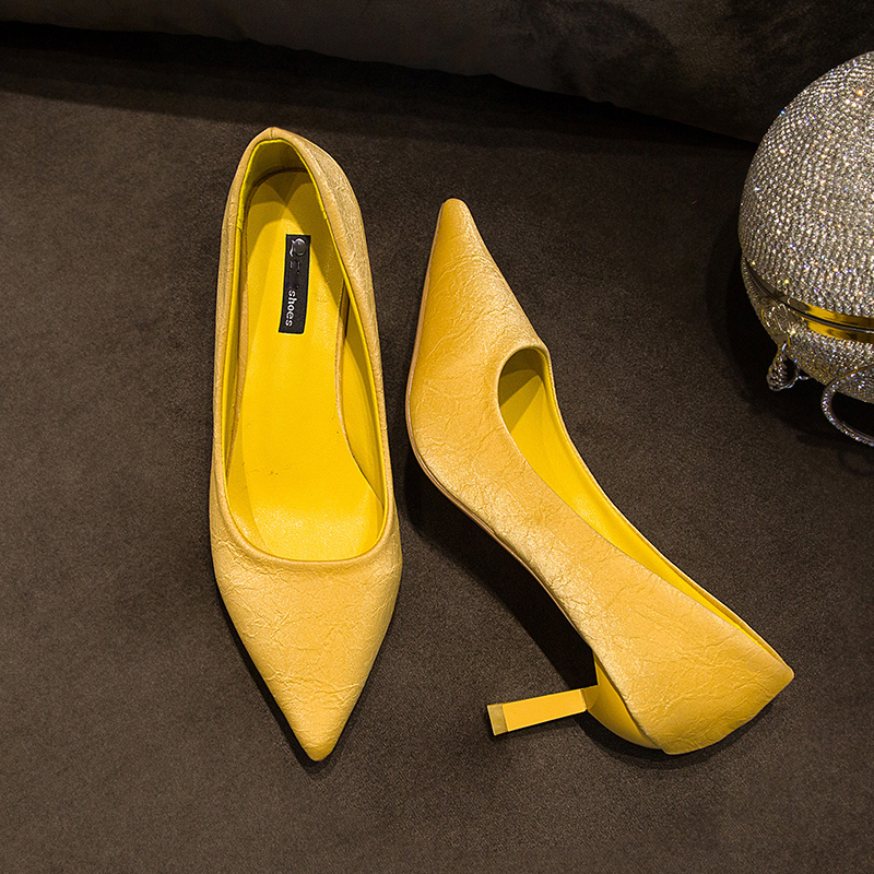 Rimocy woman high heels shoes sexy pointed toe slip on
