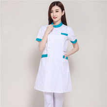 New Summer Short Sleeve Female White Lab Coat Medical Clothes Doctors Uniforms Hospital Cloth Beauty Salon Pharmacy Workwear