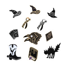 Dark Fashion Enamel Pins Shoes Boots Poker Book Eagle Brooch for Man Women Punk Cowboy Sweater Coat Decoration Fashion jewelry(China)
