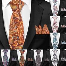hot deal buy men tie paisley classic cotton neckties and hanky set for men formal floral print ties for wedding party groom neck ties