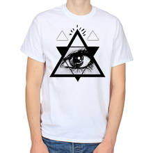 Psychedelische Eye Driehoek Illuminati Nwo Piramide Heren Wit T-shirt Tee [T43](China)